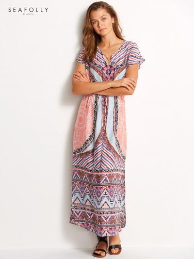 Jedwabna sukienka plażowa Seafolly Sahara Nights 53238-KA