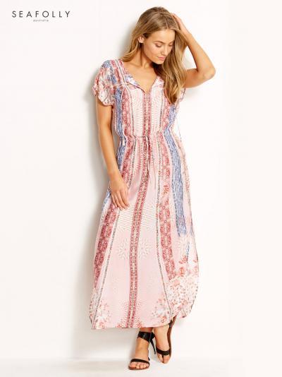 Jedwabna sukienka plażowa Seafolly Bohemian Print 53313-KA