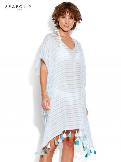 Tunika plażowa Seafolly Linen Stripe 53281-KA