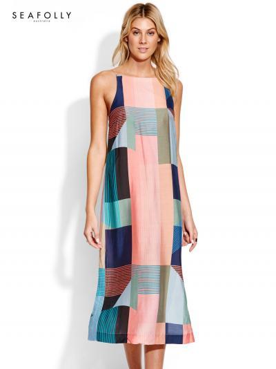Jedwabna sukienka plażowa Seafolly Modern Art 53585-DR